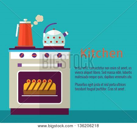Kitchenware vector concept with oven. Kitchen oven, kettle and coffee, banner cooking cake food illustration
