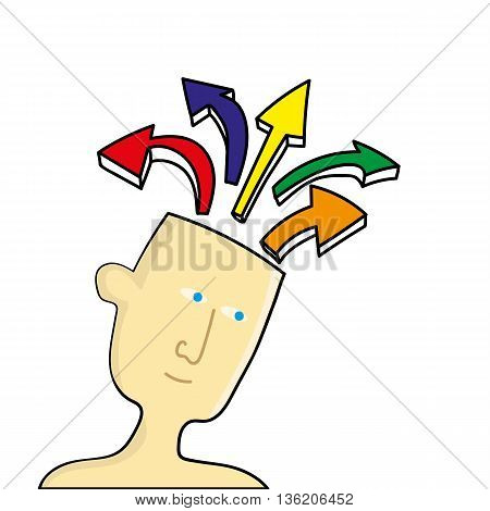 Human head of a man which as opened up to release arrows in different directions as a metaphor for ideas or mental health