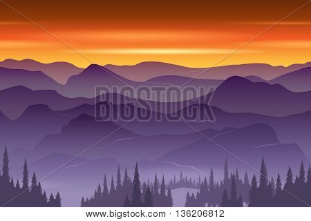Mountains seamless background vector. Nature landscape, seamless hill or mountain, outdoor panorama illustration