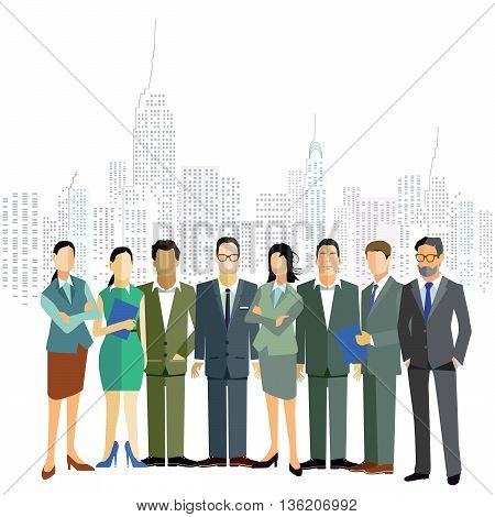 group of business and office people with city landscape