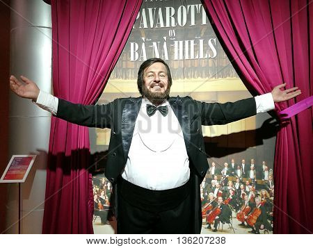Da Nang, Vietnam - Jun 20, 2016: Luciano Pavarotti wax statue on display at Ba Na Hills mountain resort. He was an Italian operatic tenor who also crossed over into popular music.