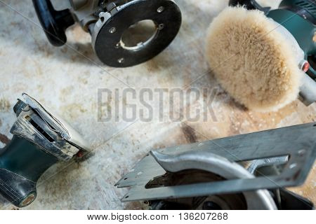Zoom of carpenters machine on a table