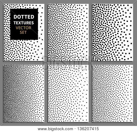 Black dots gradient vertical seamless background set. Dots patterns vector. Dot background, pattern abstract dotted, seamless texture dot illustration