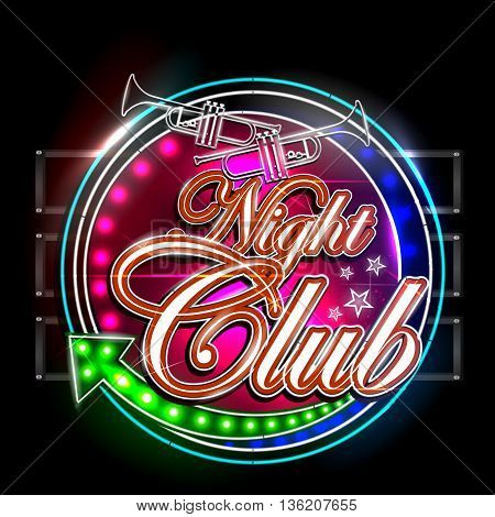 easy to edit vector illustration of Neon Light signboard for Night Club