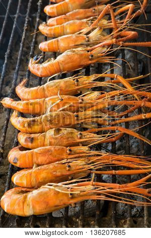 Grilled prawns on the grill. shrimp, grilled, grill, seafood,