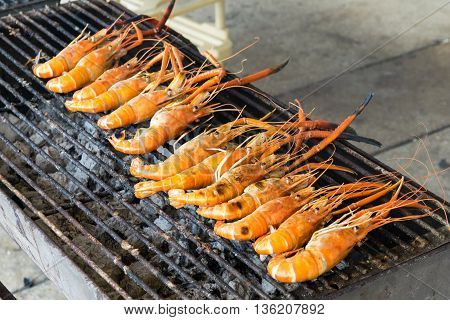 Grilled prawns on the grill. shrimp, grilled, grill, seafood, food