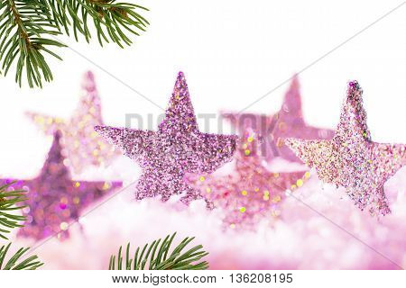Christmas background with violet stars and christmas twig