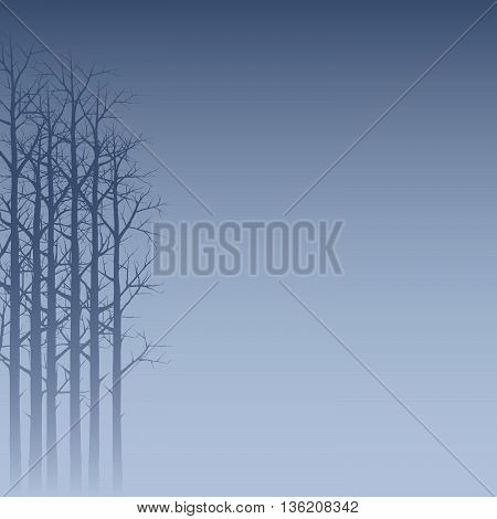 Trees Background. Vector Illustration Of A Hazy Forest Silhouette In Blue
