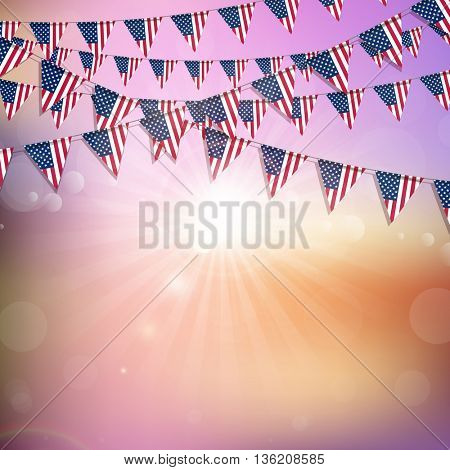 American flag bunting on an abstract background