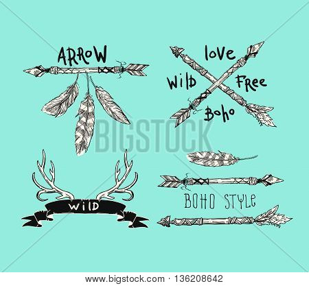Set of Boho Style  hand drawn labels. Boho chic style.