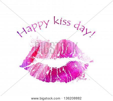 Print of pink lips. Lipstick kiss on white background. Card for International Kissing Day. Illustration with glamorous sensual red lips. Sexy kissing woman lips. Beautiful close up kiss icon.