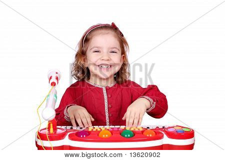 happy little girl play music