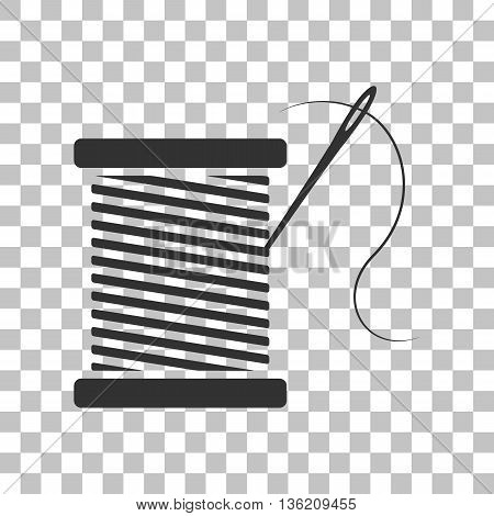 Thread with needle sign illustration. Dark gray icon on transparent background.