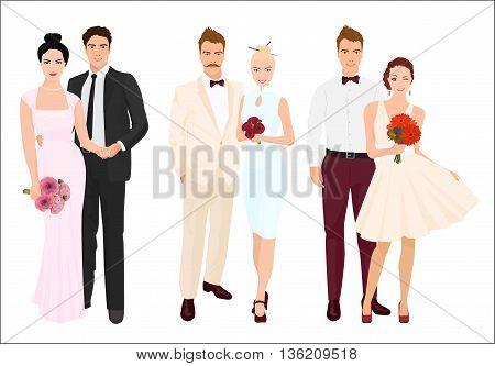 Elegant wedding couples bride and groom set