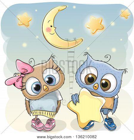 Cute cartoon Owl boy gives a Owl girl a star