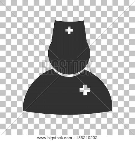 Doctor sign illustration. Dark gray icon on transparent background.