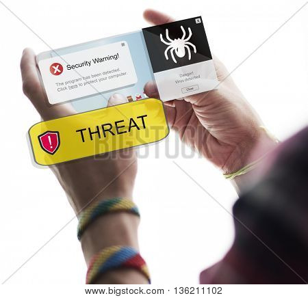 Threat Warning Notification Mobile Phone Concept