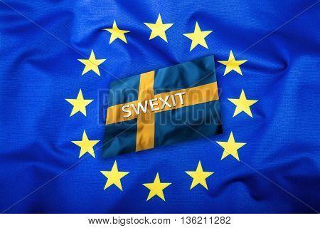 Swexit. Sweden Exit from EU European Union. Sweden flag Eu Flag.