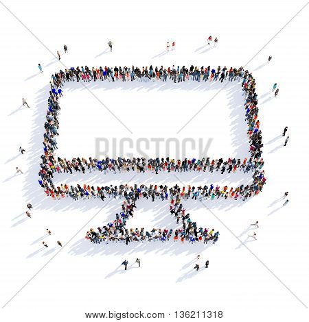 Large and creative group of people gathered together in the shape of a monitor image. 3D illustration, isolated against a white background.