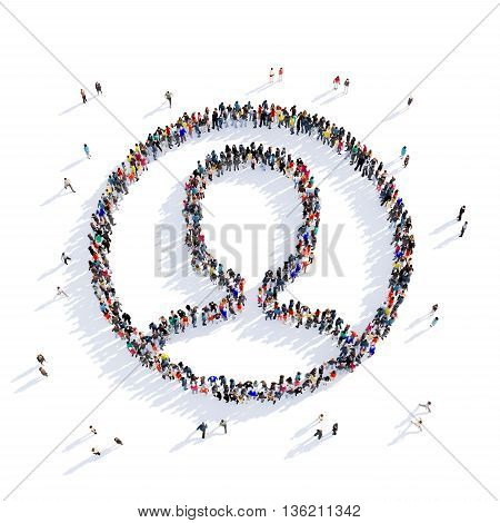 Large and creative group of people gathered together in the shape of man, medicine, image. 3D illustration, isolated against a white background.