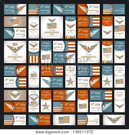 Independence Day Greeting Card With Typographic Design In Vintage Style. Set Of Independence Day Gra
