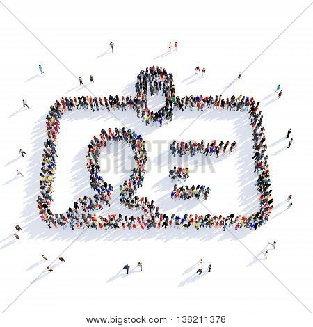 Large and creative group of people gathered together in the shape of a badge, picture. 3D illustration, isolated against a white background.