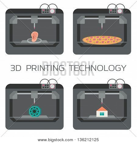 3D printing technology. 3d printing house, bodies, pizza, plastic models. 3 D printer. Vector illustration.