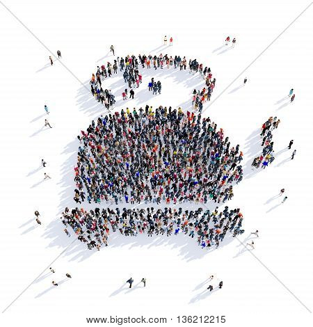 Large and creative group of people gathered together in the shape of tea image. 3D illustration, isolated against a white background.