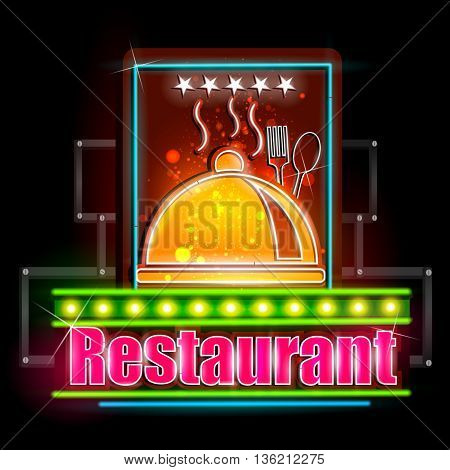 easy to edit vector illustration of Neon Light signboard for Restaurant