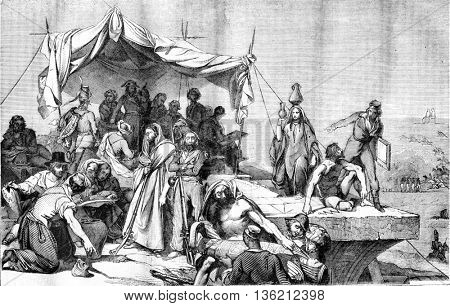 Louvre museum, Bonaparte's expedition to Egypt, ceiling painting, vintage engraved illustration. Magasin Pittoresque 1836.