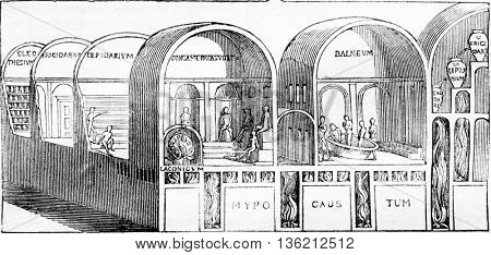 Seating representation, after paintings of discoveries in the baths of Titus, vintage engraved illustration. Magasin Pittoresque 1836.