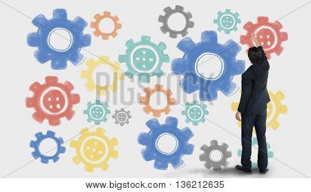 Cog Collaboration Digital Technology Concept