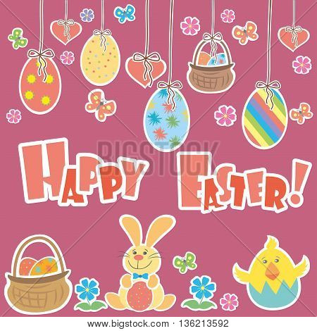 Easter Background with cute rabbit colorful eggs and a chick vector illustration