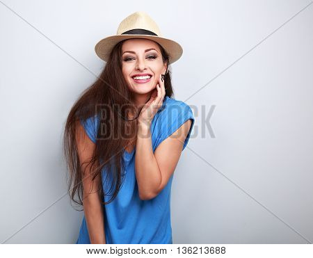 Natural Emotional Laughing Woman In Summer Hat Looking Happy
