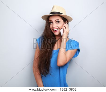 Funny Surprising Woman In Hat Talking On Telephone With Smile