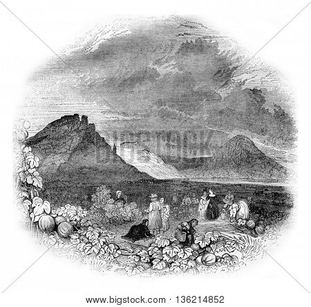 Valhalla, or Palace of Heroes in the Danube plain, in Bavaria, vintage engraved illustration. Magasin Pittoresque 1836.