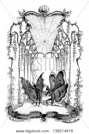 Human papillonneries by St. Aubin, A theater stage, vintage engraved illustration. Magasin Pittoresque 1836.