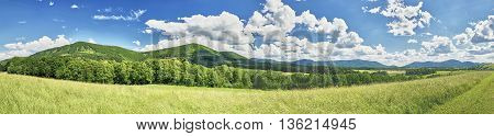 Panoramic view spring of the Beskydy Mountains