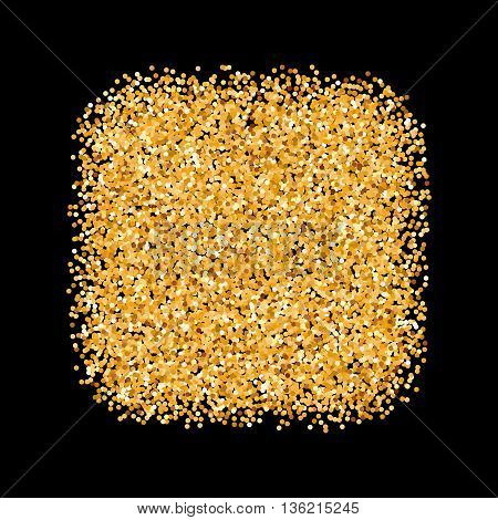 Golden Glitter Object in the Form of Square on Black Background