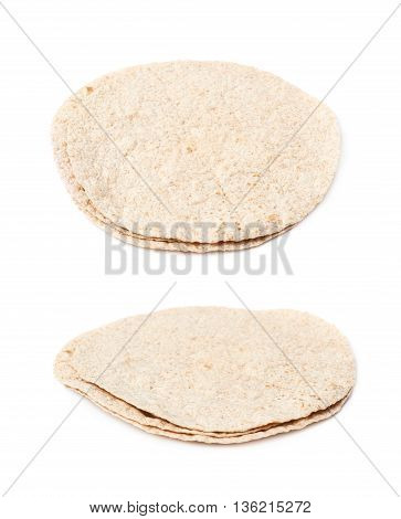 Pile of wheat tortillas isolated over the white background, set of two different foreshortenings