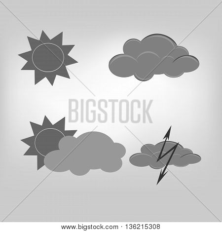 vector icon sun cloud weather illustration on background