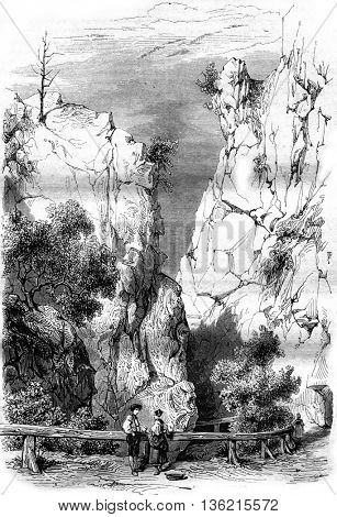 The black-forest and the valley of hell, vintage engraved illustration. Magasin Pittoresque 1842.