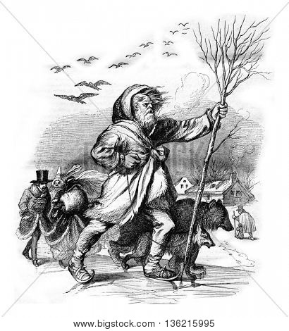 Winter, Allegory, vintage engraved illustration. Magasin Pittoresque 1842.