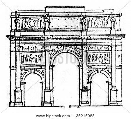 Arc du Carrousel, vintage engraved illustration. Magasin Pittoresque 1836.