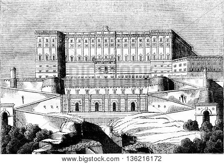 View the Royal Palace of Madrid, vintage engraved illustration. Magasin Pittoresque 1836.