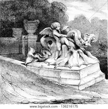 A group of Neptune Basin, Versailles Park, vintage engraved illustration. Magasin Pittoresque 1836.
