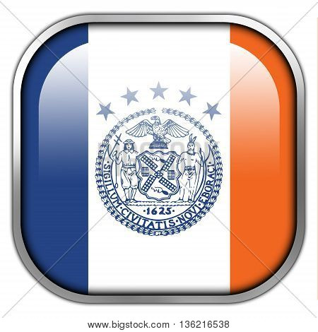 Flag Of New York City, Square Glossy Button