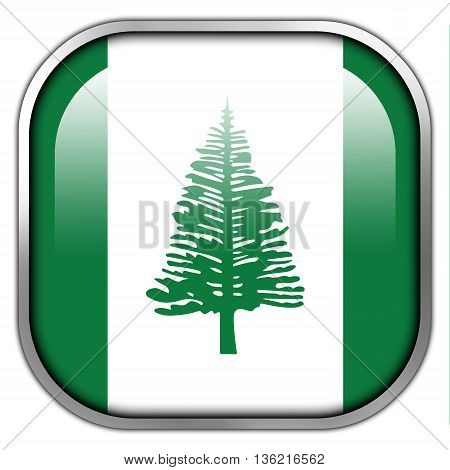 Flag Of Norfolk Island, Square Glossy Button