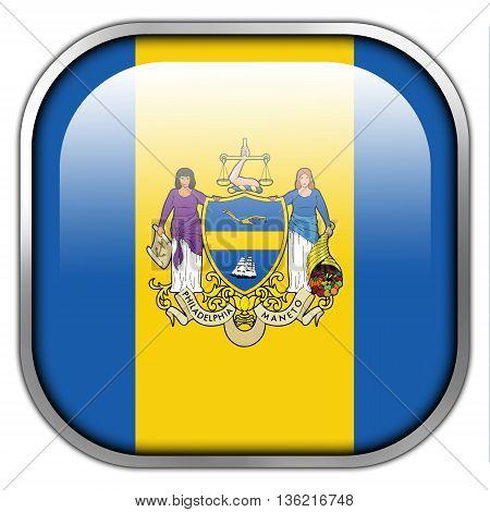 Flag Of Philadelphia, Pennsylvania, Square Glossy Button