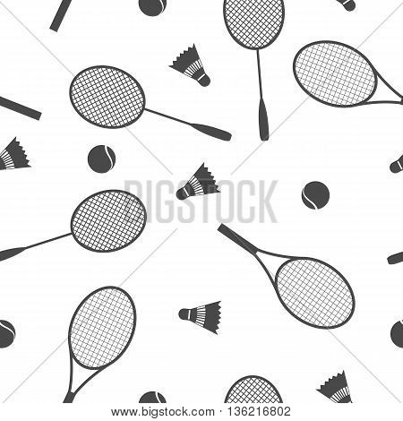 Sports Seamless background with elements of equipment for badminton and tennis racquet ball and shuttlecock vector illustration.